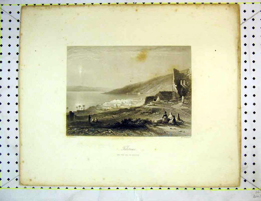 Print View Tiberias Sea Galilee Mountains People Brandard 237B372 Old Original