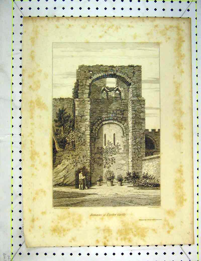 Print 1822 Exterior View Remains Exeter Castle England Byrne 243B372 Old Original