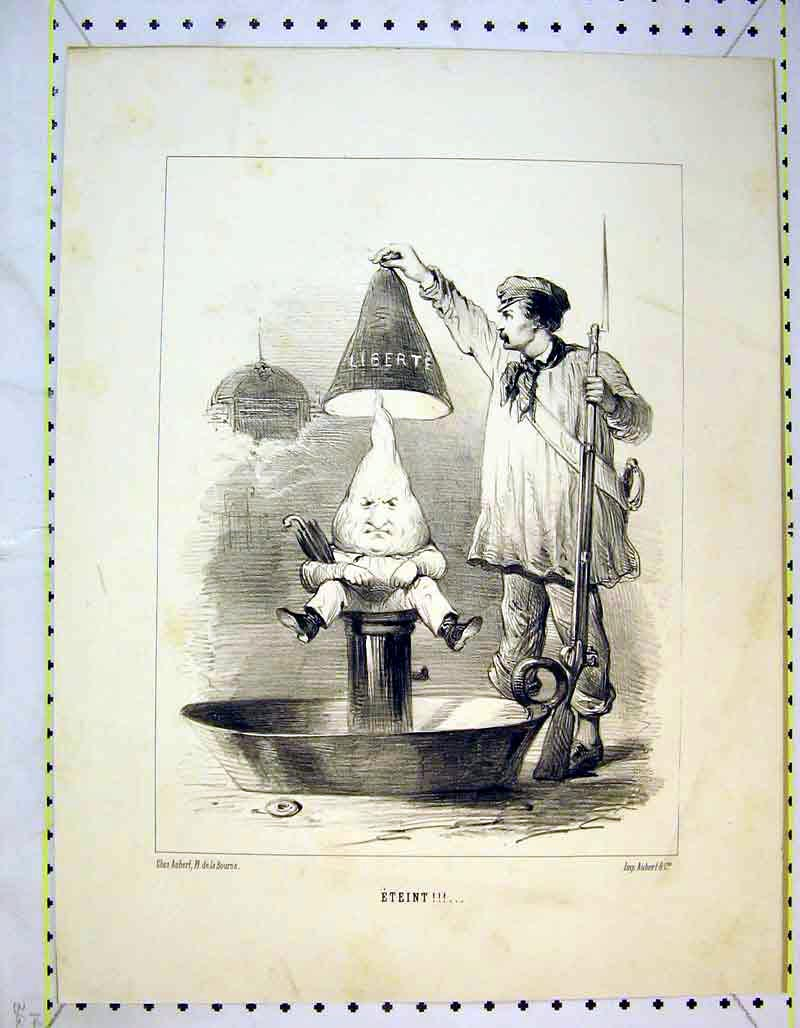 Print French Comedy Man Gun Candle Head Fantasy Hat 304B373 Old Original
