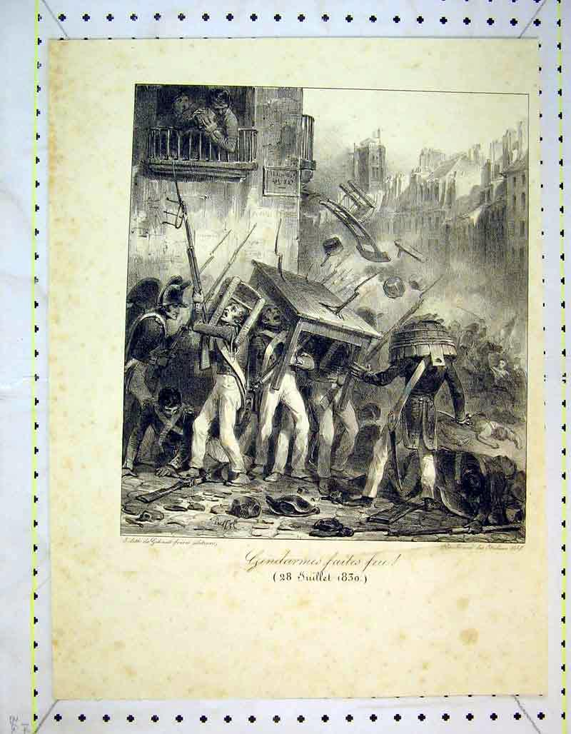 Print 1830 French War Soldier Battle Table Chair Gun 306B373 Old Original
