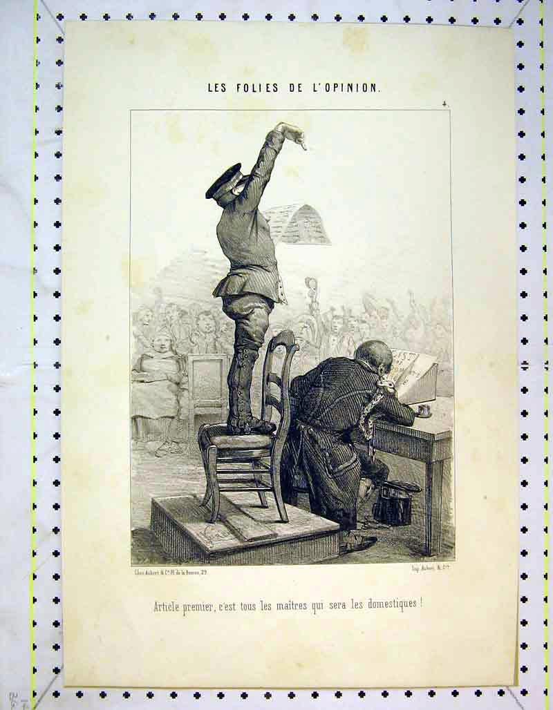 Print French Soldier Chair Man Table Meeting 312B373 Old Original