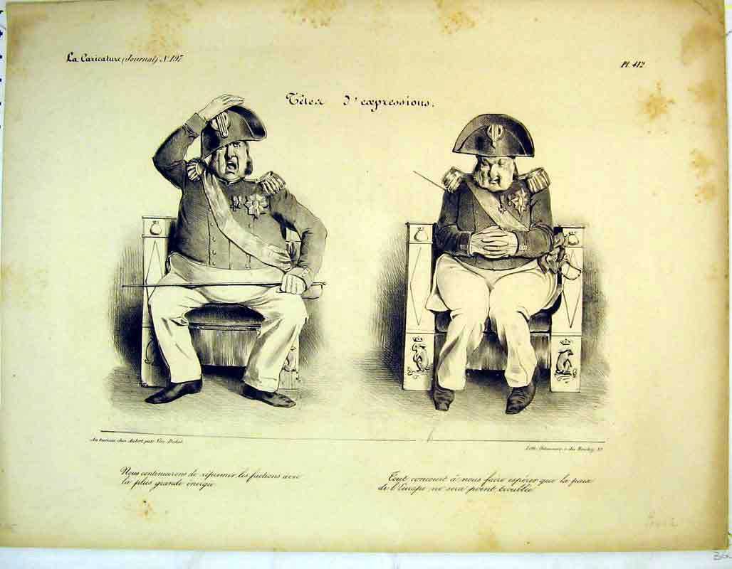 Print French Soldier Facial Expressions Chair 315B373 Old Original