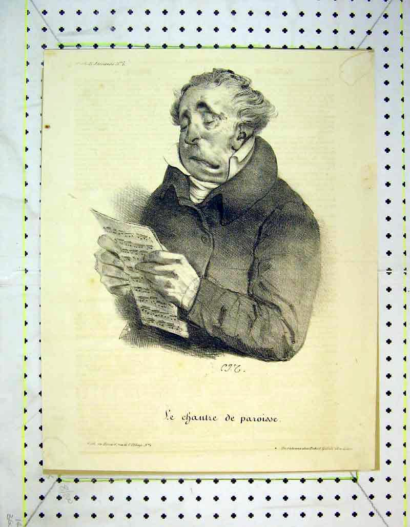 Print French Portrait Man Reading Music 329B373 Old Original