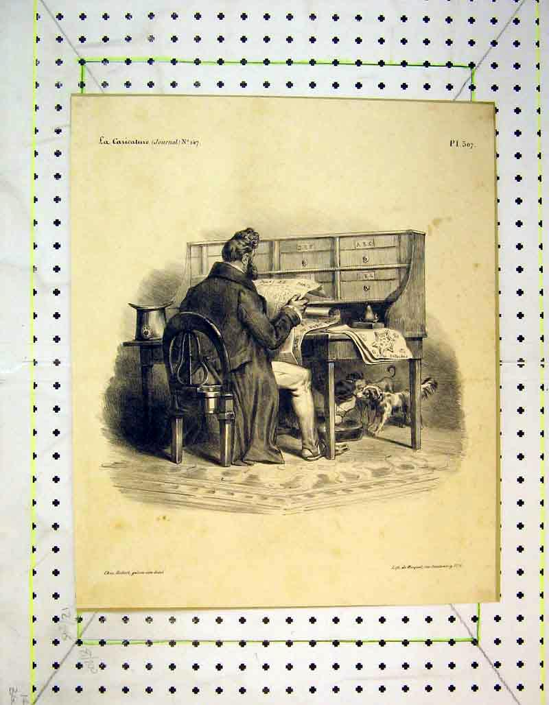 [Print French Man Reading Paper Paris Dogs Desk 330B373 Old Original]