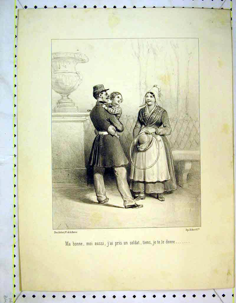 Print French Family Baby Soldier War Romance 333B373 Old Original