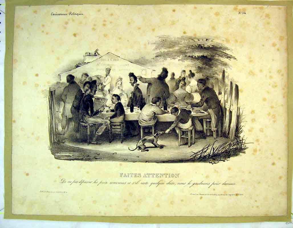 Print French Banquet Table Dinner Family Dog 334B373 Old Original