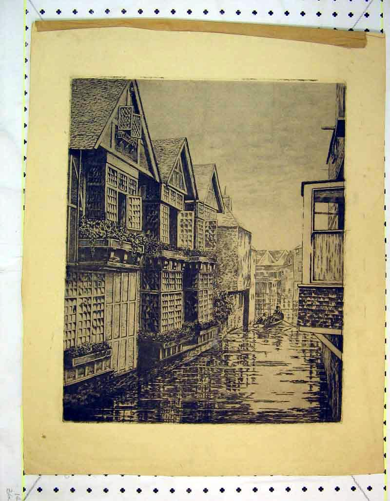 Print Canal Street Houses Boat Buildings Water 338B373 Old Original