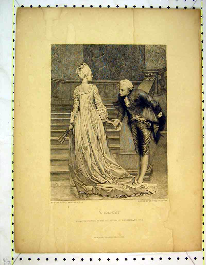 Print Man Women Romance Bientot Stairs Flameng 339B373 Old Original