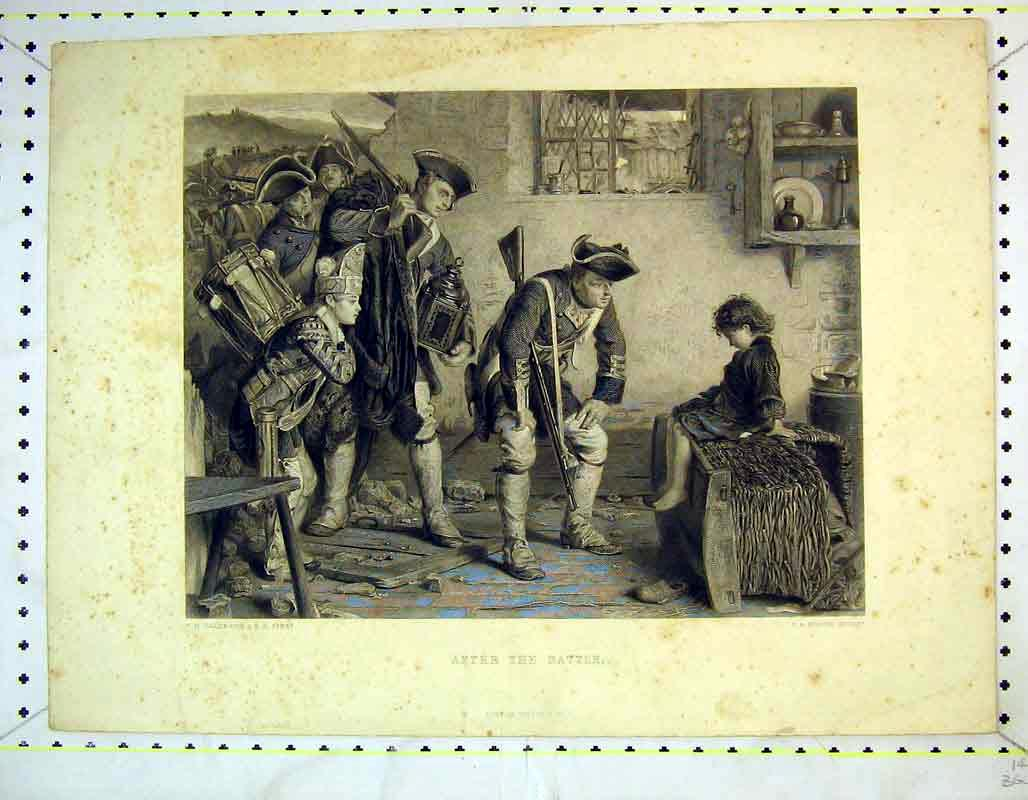 Print After Battle Soldiers Young Child Heath 344B373 Old Original