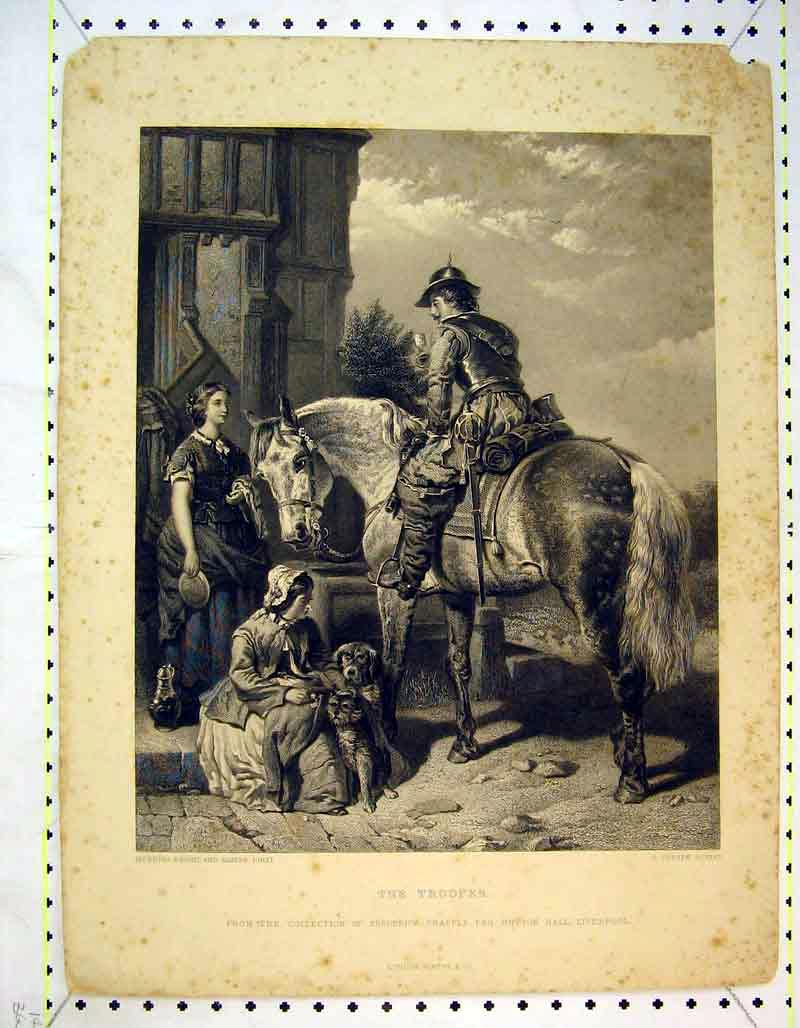 Print Trooper Soldier Horse Women Dogs Romance 345B373 Old Original