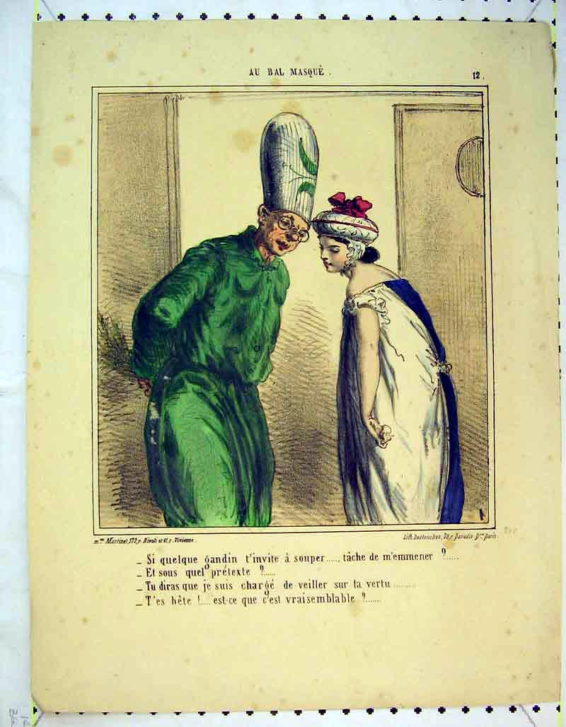 Print French Colour Woman Man Costumes Paris 347B373 Old Original