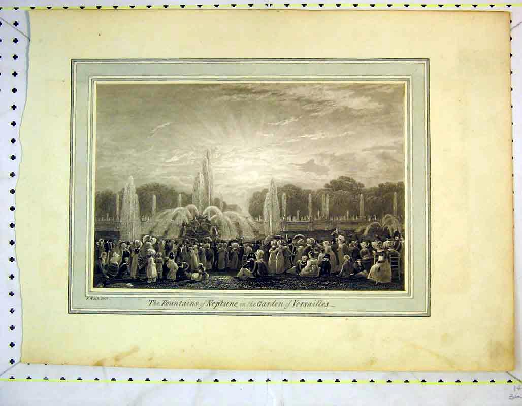 Print View Fountains Neotune Garden Versailles Cart Holy Tree 354Rb373 Old Original