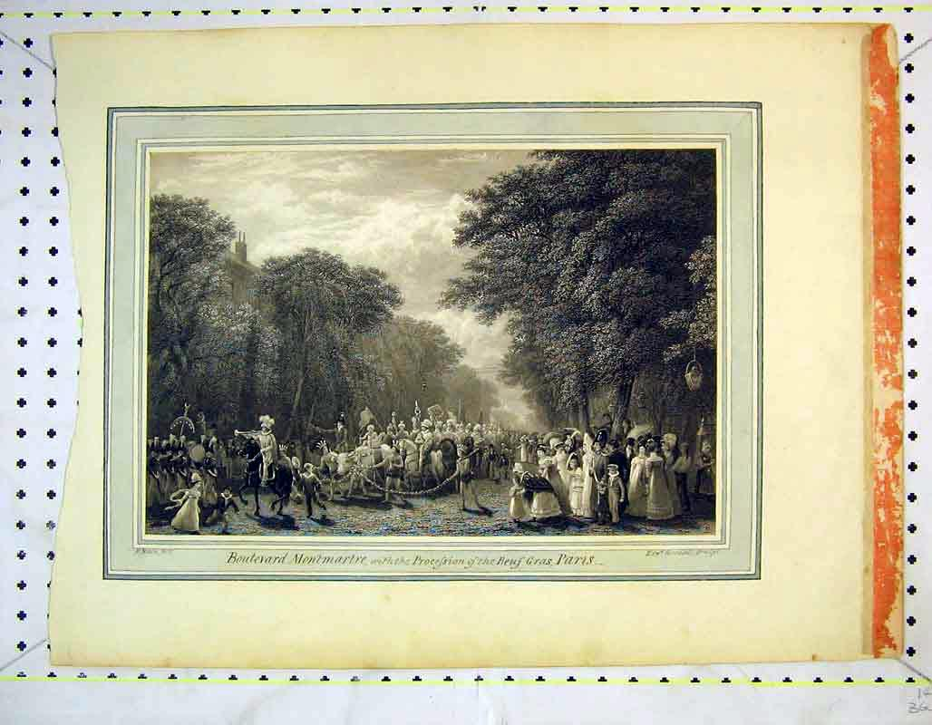 Print View Boulevard Montmerte Procession Beuf Gras Paris 356B373 Old Original
