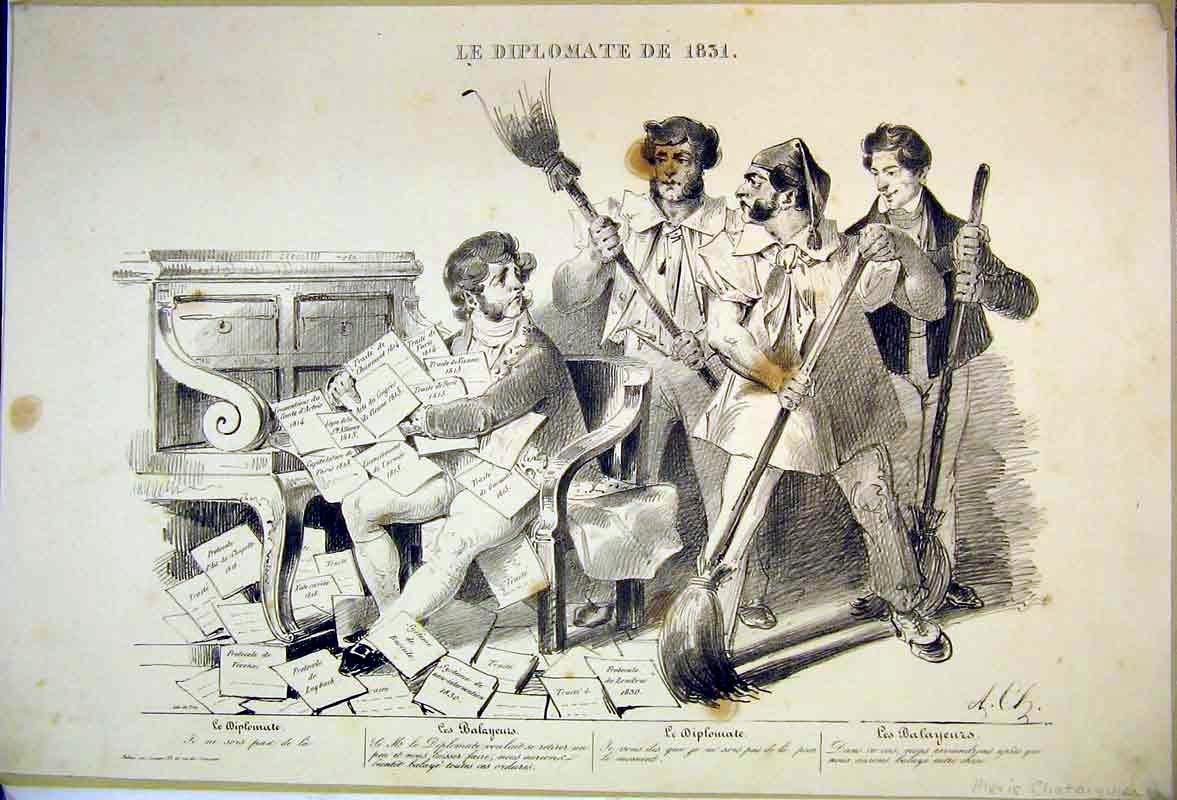 Print 1831 Alexis Chataiguien Men Sweep Brushes Books Piano 403B374 Old Original