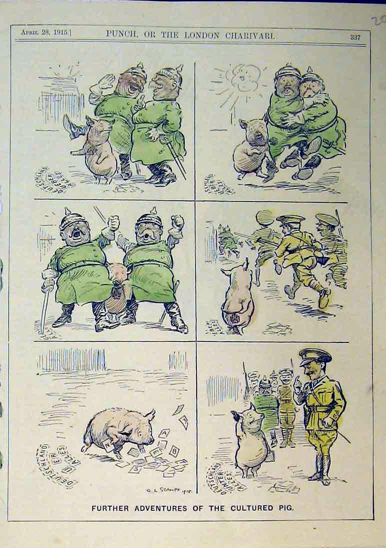 Print Adventures Cultured Pig Army War Soldier 1915 Animal 202B375 Old Original