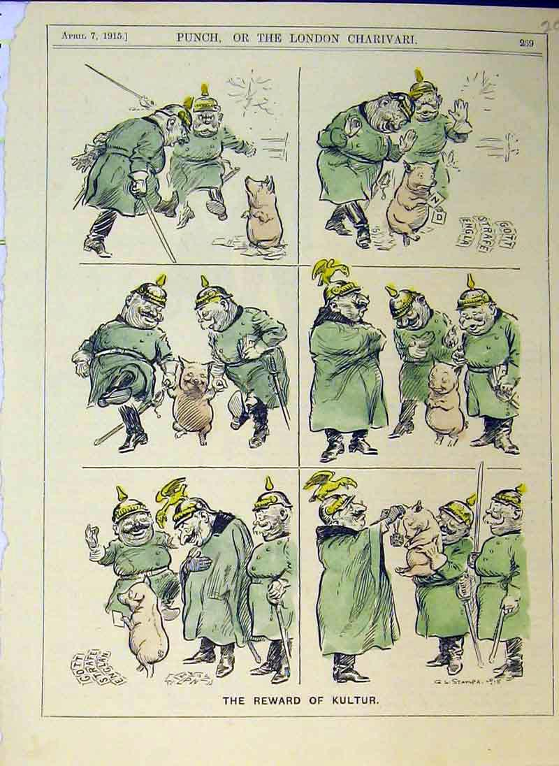Print Reward Kultur 1915 Colour Soldier Army War Men 207B375 Old Original