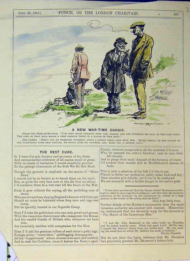 [Print War Time Caddie Golf Sport 1915 Smoke Men Colour 208B375 Old Original]