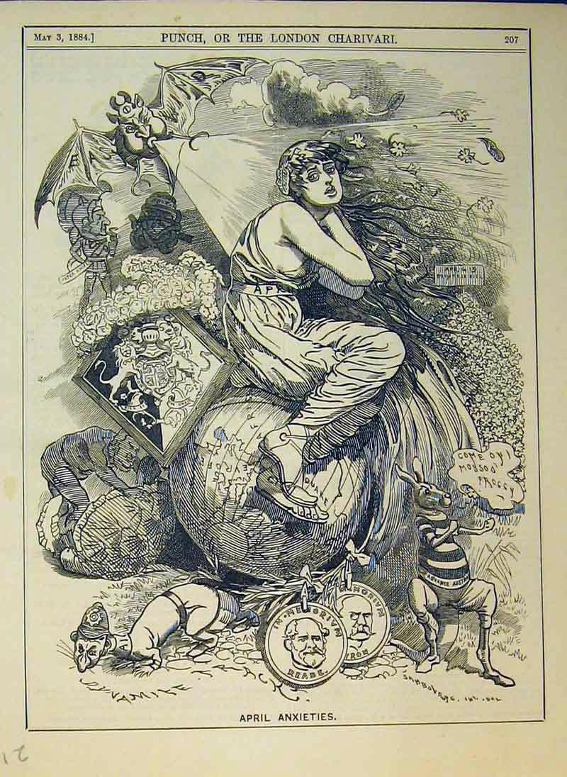 Print 1884 April Anxieties Woman Wind Coins Animals Fantasy 211B375 Old Original