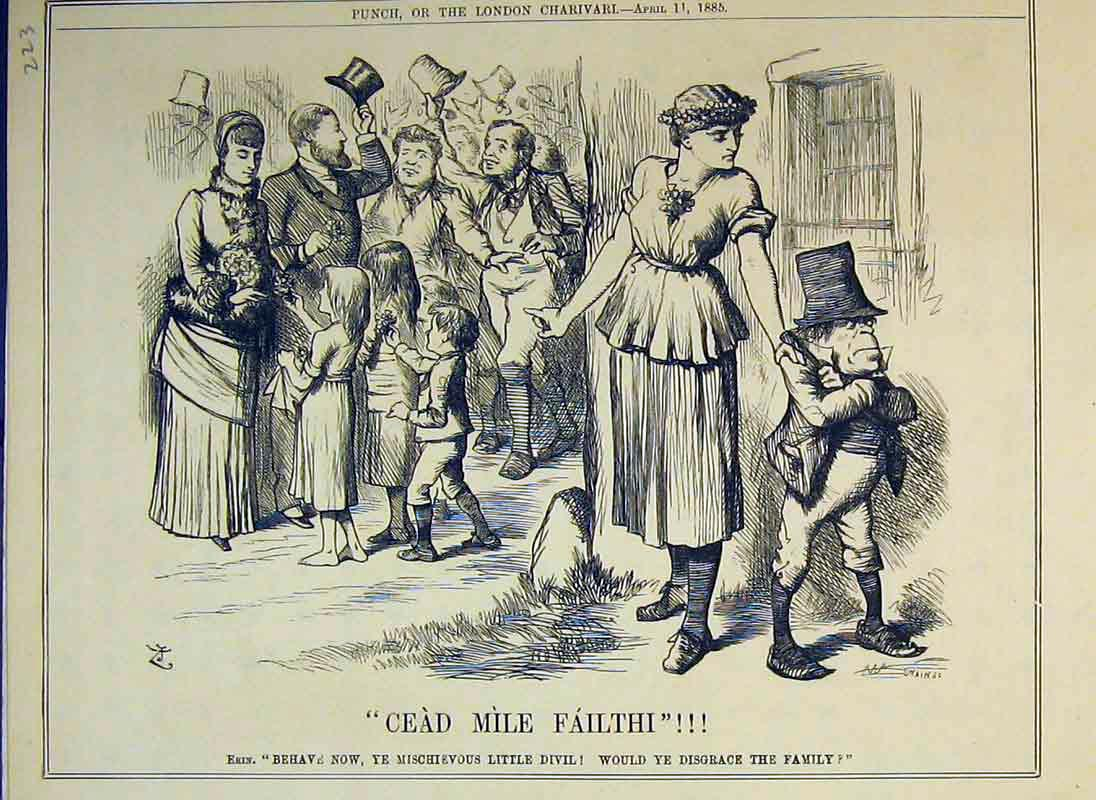 Print Cead Mile Failthi 1885 Families Little Man Celebration 223B375 Old Original