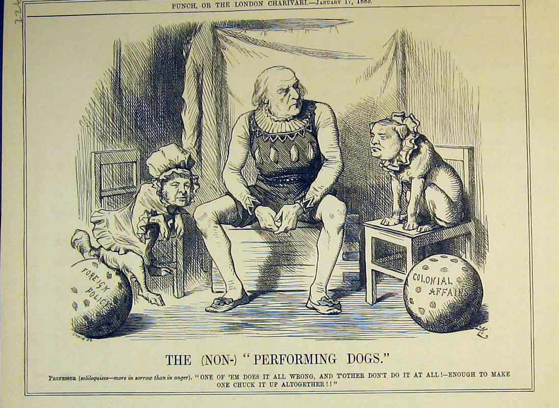 Print Performing Dogs Professor 1885 Politics Foreign Policy 226B375 Old Original