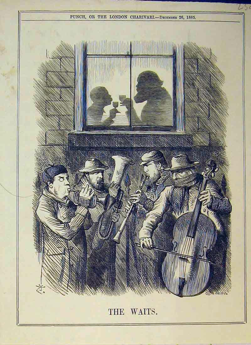 Print 1885 Street Music Men Instruments Drinking Party 238B375 Old Original