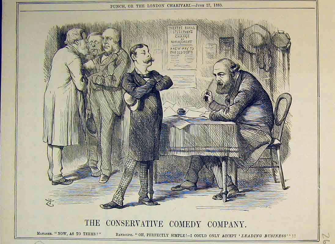 Print 1885 Conservative Comedy Company Randolph Men Table 260B375 Old Original