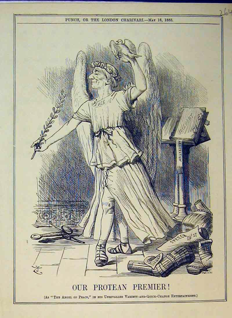 Print 1885 Angel Peace Dove Bird Costume Book Sword 264B375 Old Original