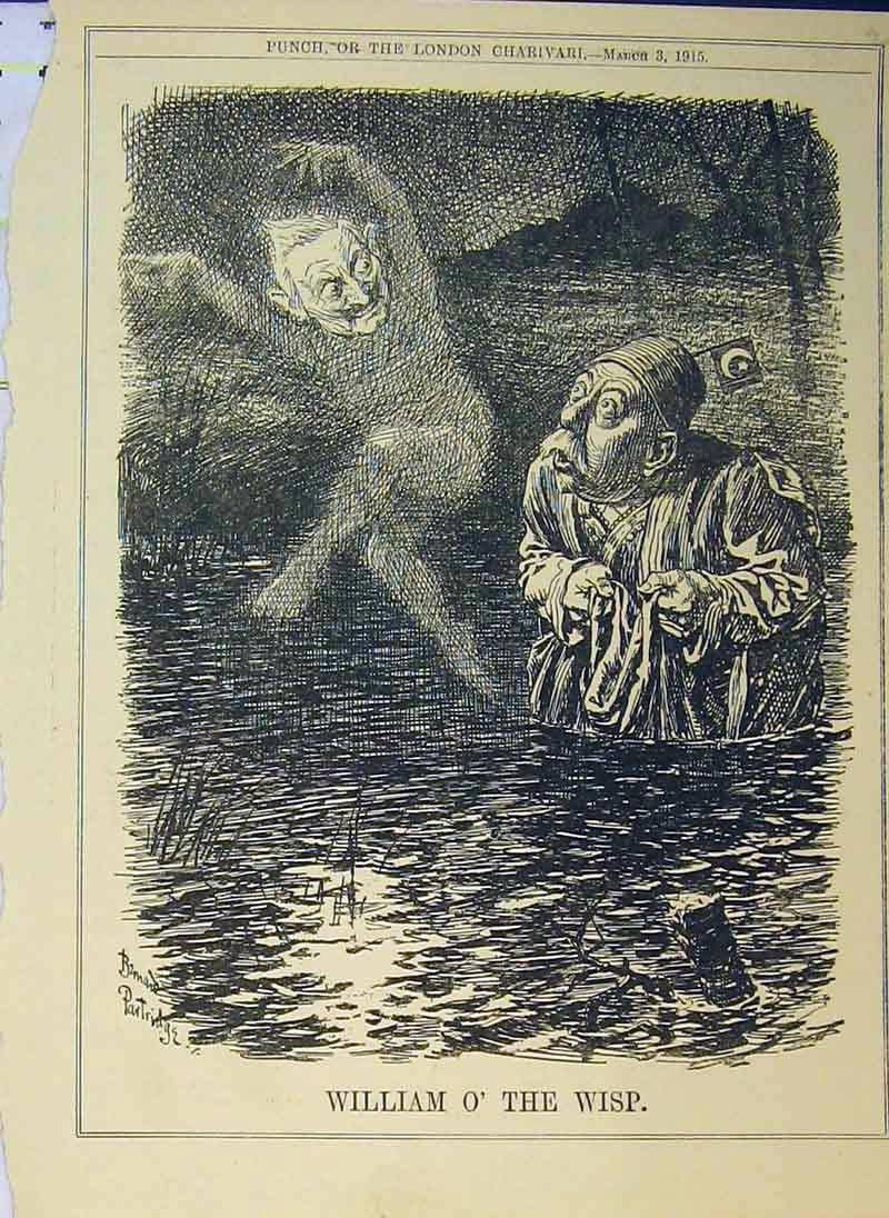 Print William Wisp 1915 Man Water Sea Ghost 267B375 Old Original