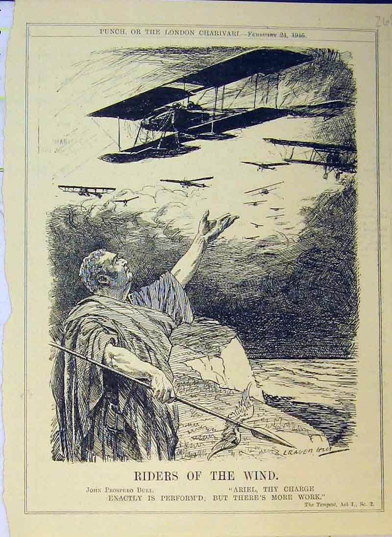 Print Riders Wind 1915 Aeroplane John Prospero Bull Flying 268B375 Old Original