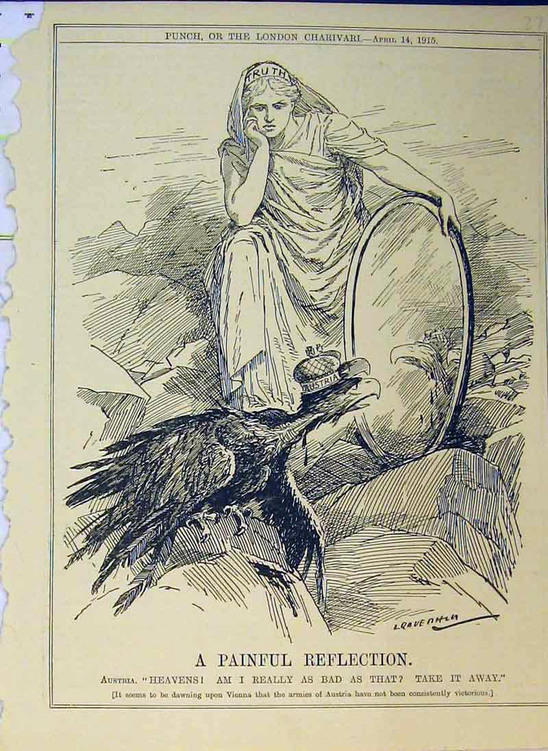 Print Woman Mirror Vulture Bird Reflection 1915 Mountains 273B375 Old Original