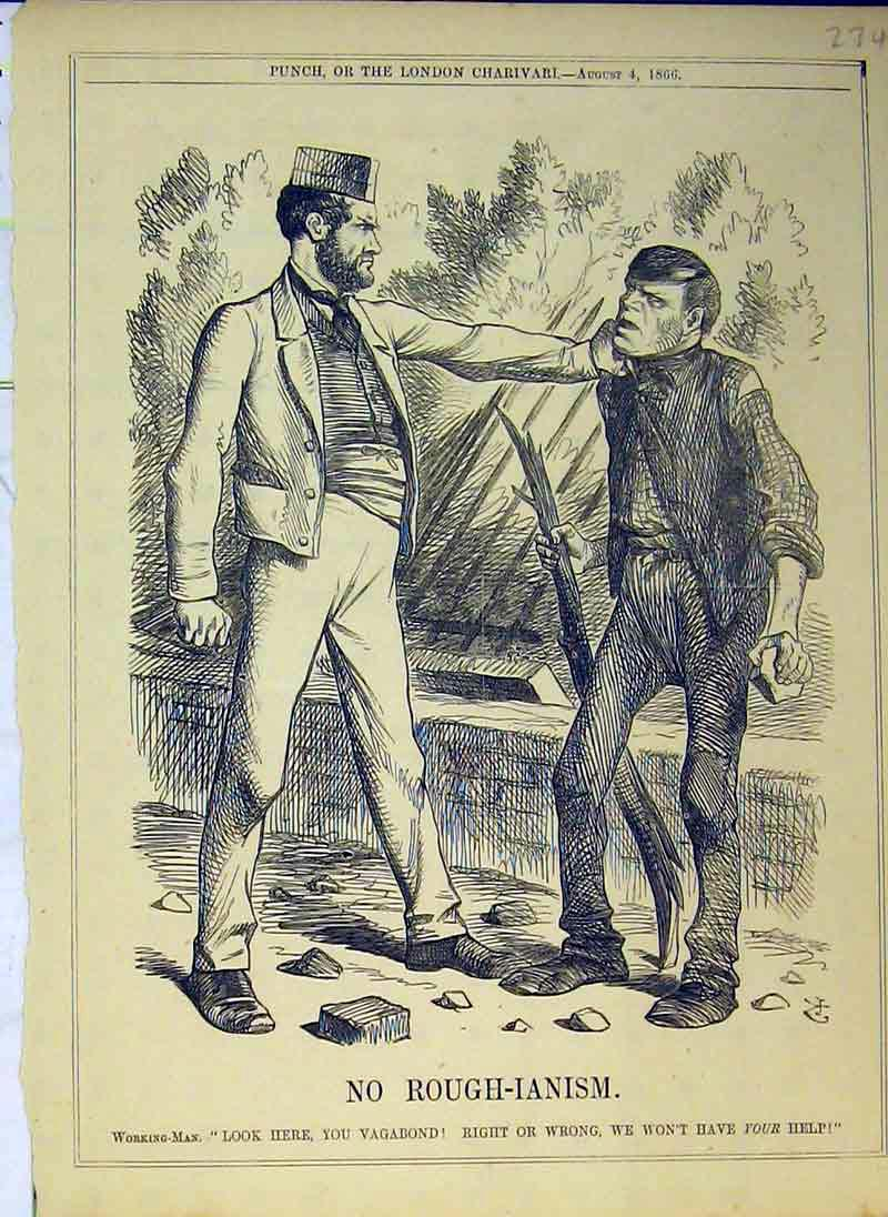 Print 1866 Working Man Rich Caught Stick Country Road 274B375 Old Original