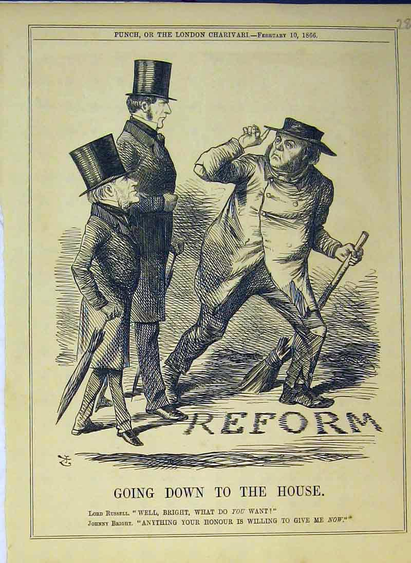 Print 1866 Men Top Hats Lord Russell Johnny Bright Reform 282B375 Old Original
