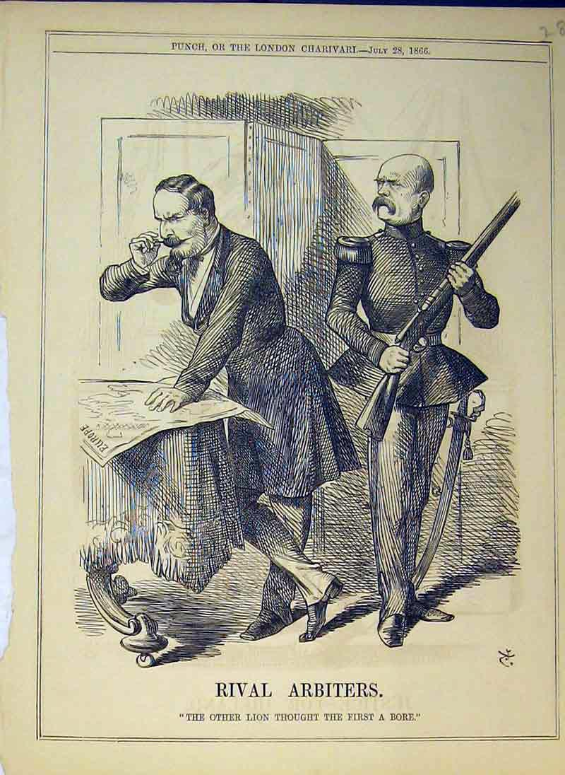 Print 1866 Rival Arbiters Men Reading Paper Rifle Gun Soldier 285B375 Old Original
