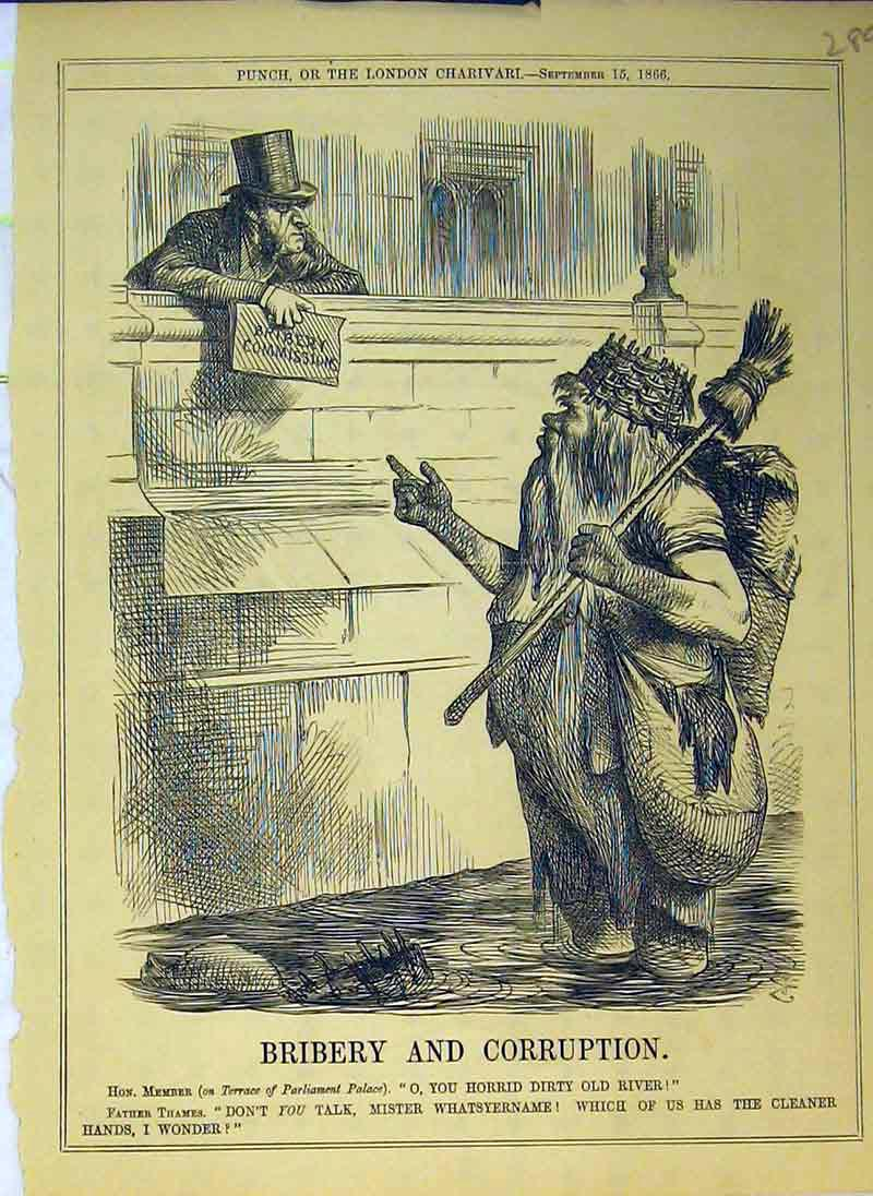 Print Bribery Coruption 1866 Courtroom Costume Stick Basket 289B375 Old Original
