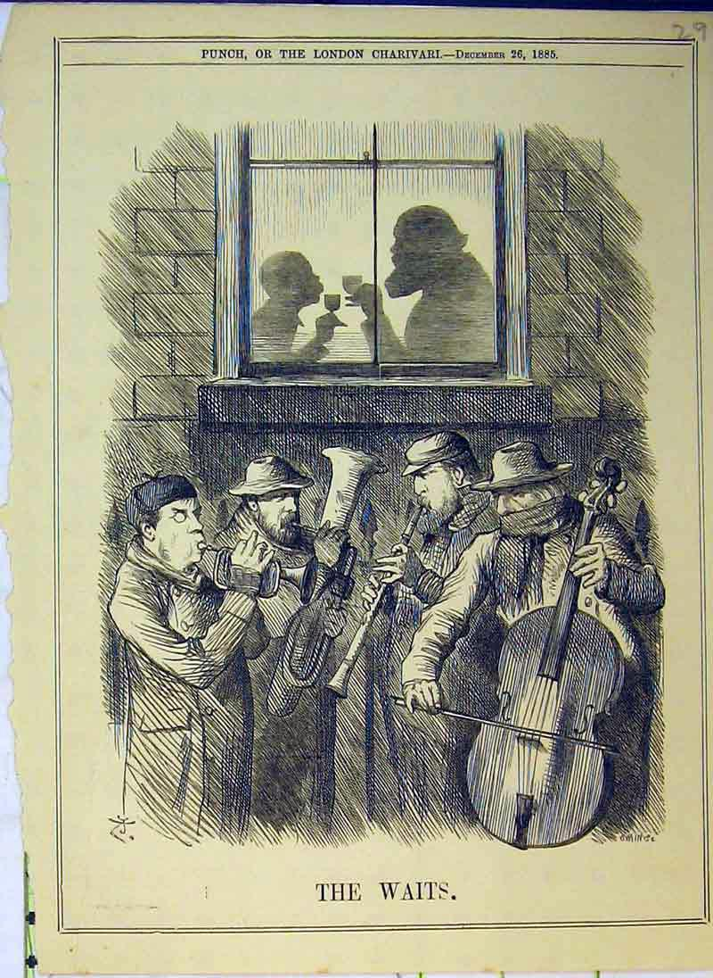 Print 1885 Men Playing Music Outside House Drinking Party 295B375 Old Original