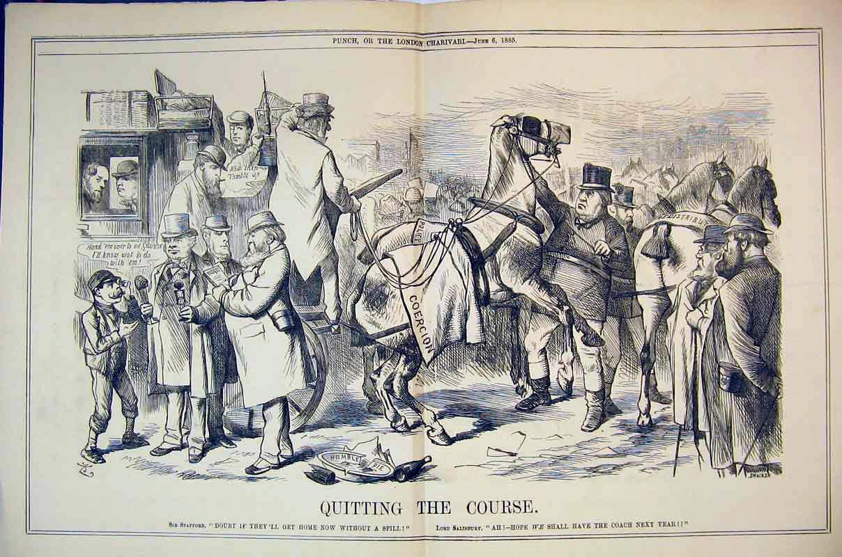 Print 1885 Quitting Course Horse Racing Sport Men Coach 300B375 Old Original