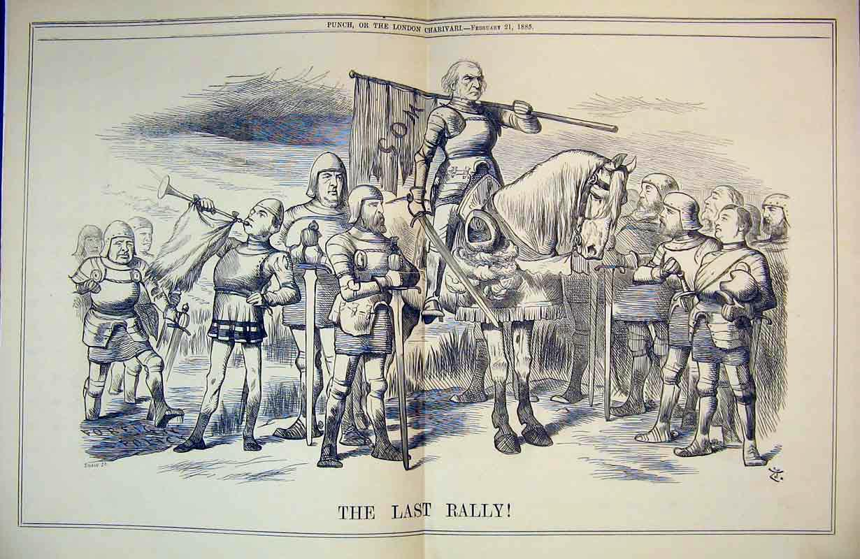 Print 1885 Last Rally Soldier Knight Horses War Battle Sword 301B375 Old Original