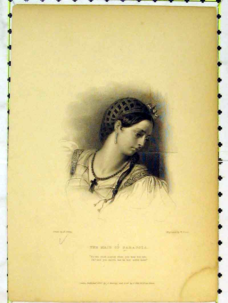 Print 1832 Portrait Beautiful Woman Maid Saragoza Finden 202B376 Old Original