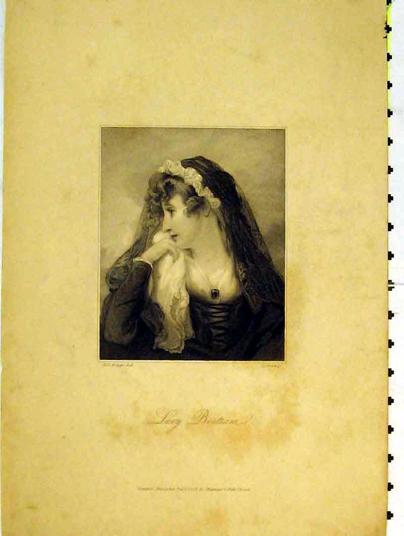 Print 1832 Portrait Beautiful Woman Lucy Bertram Lady 203B376 Old Original