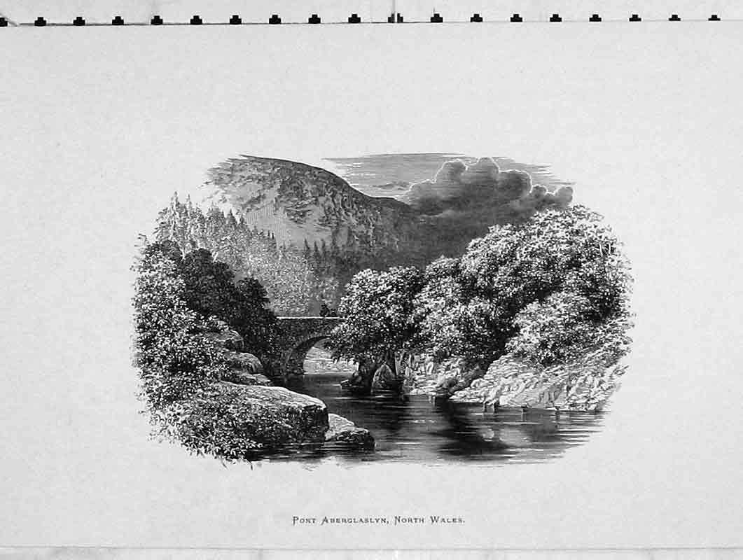 Print View Pont Aberglaslyn North Wales Bridge Trees River 205B376 Old Original