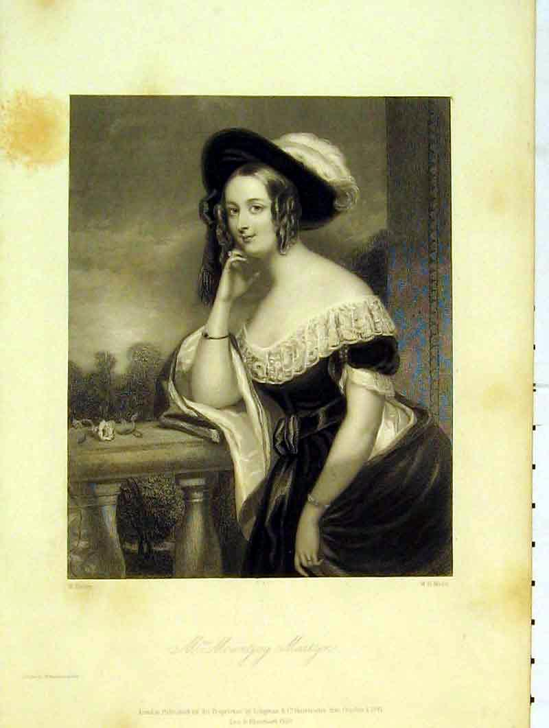 Print Portrait Mountjoy Martyn 1841 Beautiful Woman Fisher 214B376 Old Original