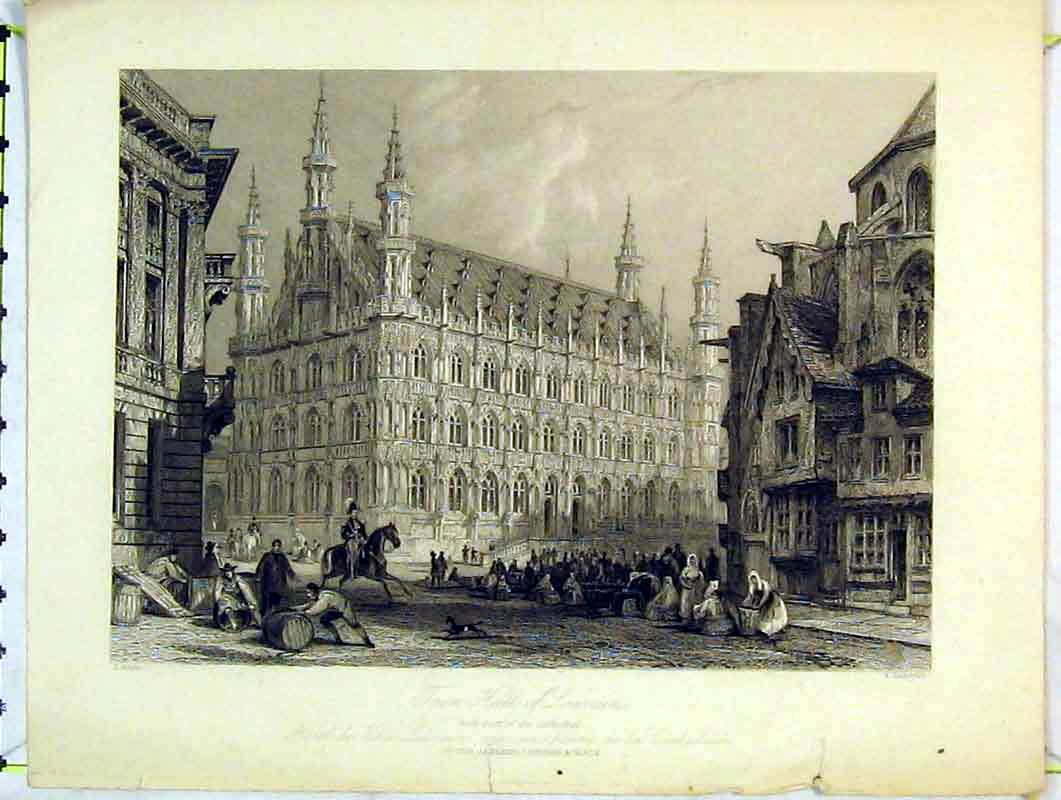 Print View Town Hall Lourain Cathedral Church Peter Jackson 222B376 Old Original