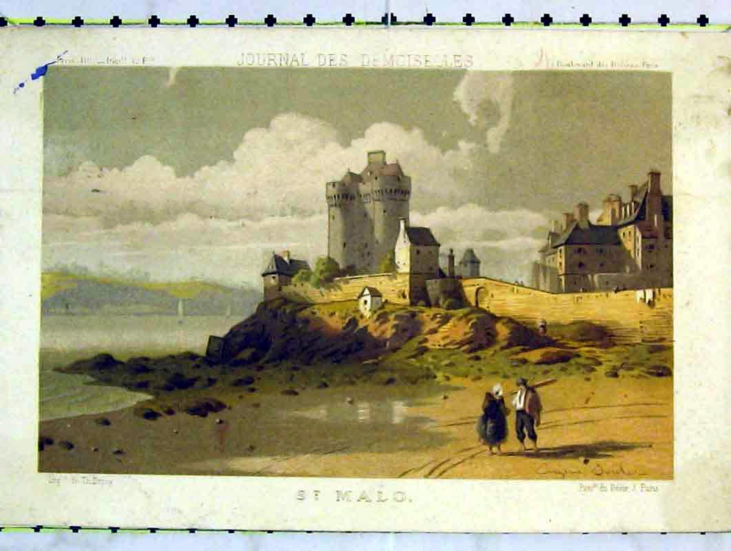 Print Colour View St Malo France Tower Houses 223B376 Old Original