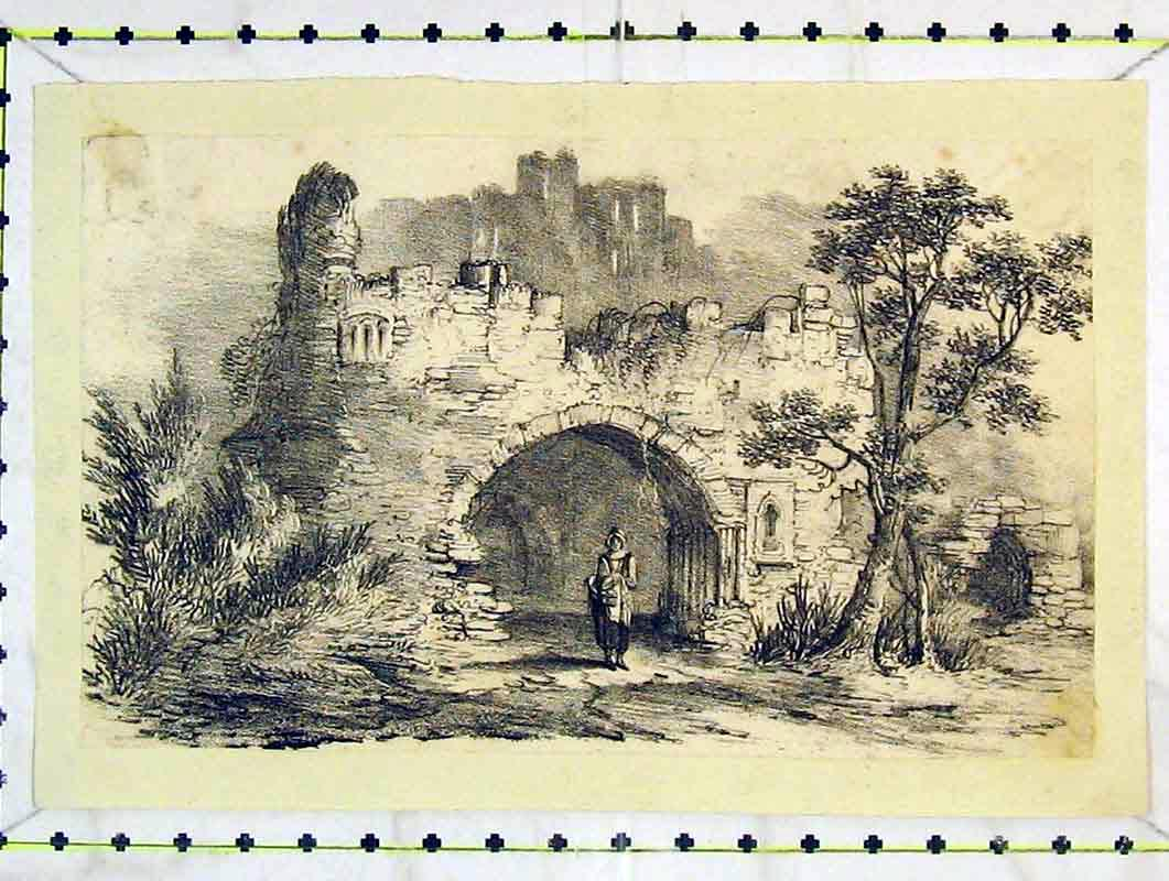 Print Country Ruins Building Woman Basket Lady 226B376 Old Original
