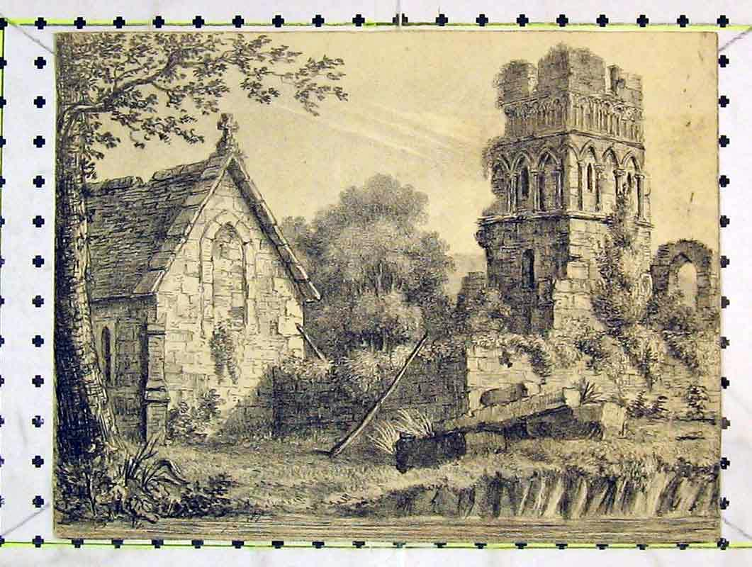 Print Sketch Church Tower Ruins Trees River Bank 227B376 Old Original