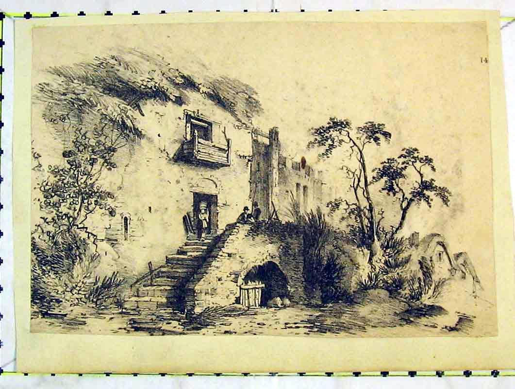 Print Sketch House Country Steps People Trees 228B376 Old Original