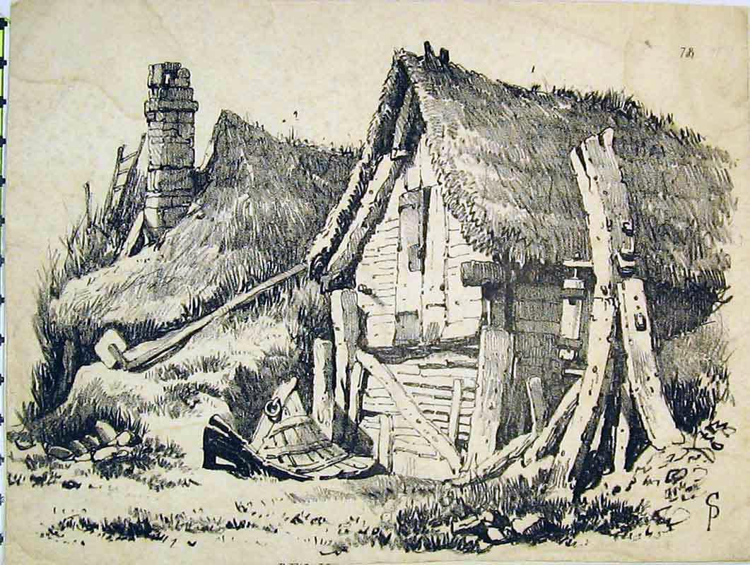 Print Sketch House Thatched Roruins Country 229B376 Old Original
