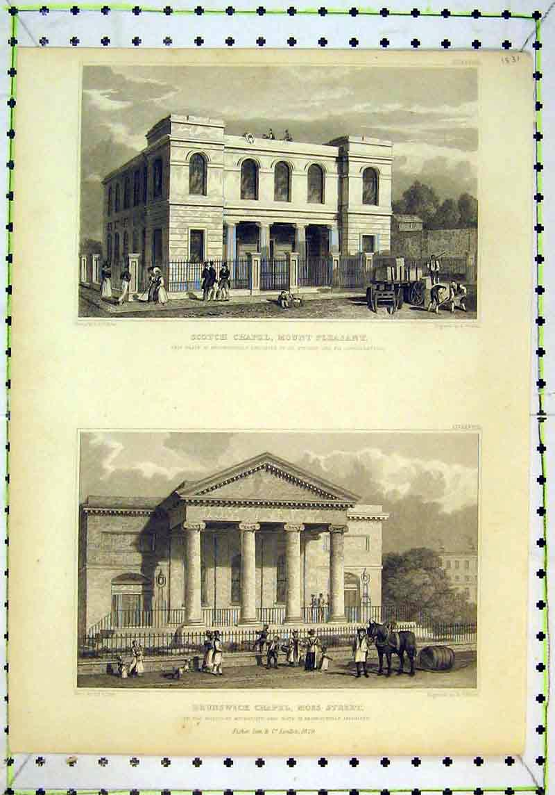 Print 1829 Brunswick Chapel Moss Street London Scotch Mount 116B377 Old Original
