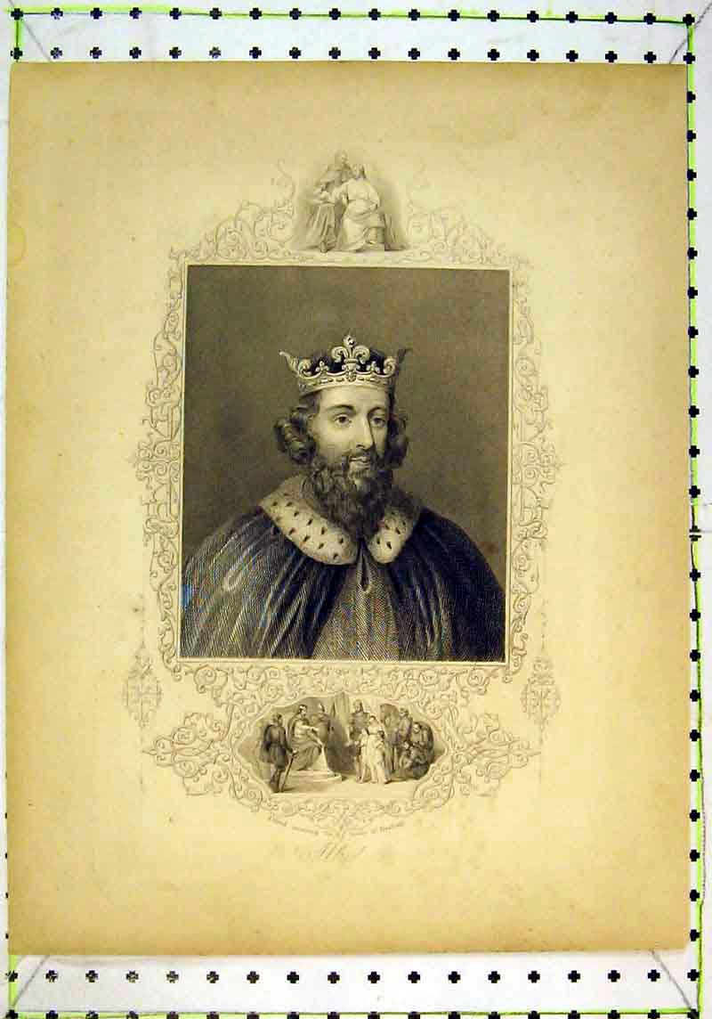 Print Portrait King Alfred Receiving Family Hastings 118B377 Old Original