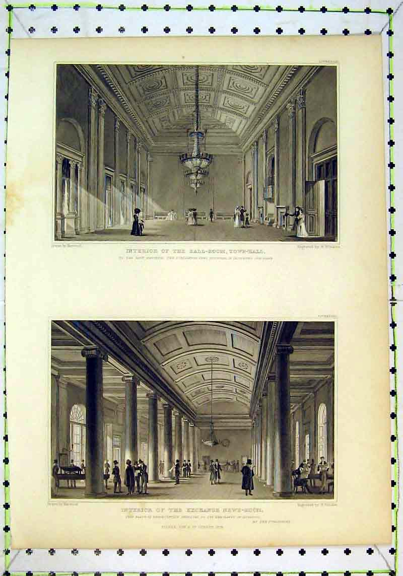 Print 1829 Interior Ball Room Town Hall Exchange News Winkles 120B377 Old Original